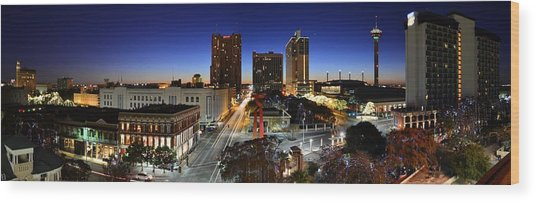 First Light On San Antonio Skyline - Texas Wood Print