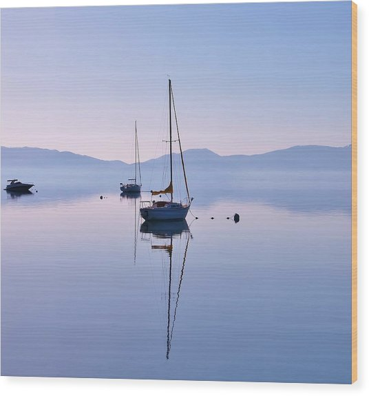 First Light Lake Tahoe  Wood Print