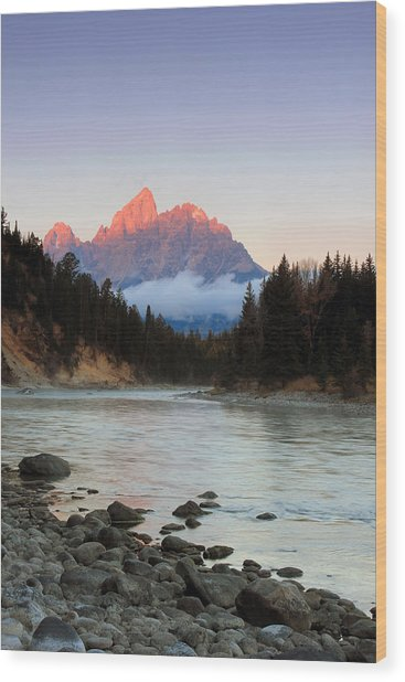 First Light On The Grand Teton Wood Print