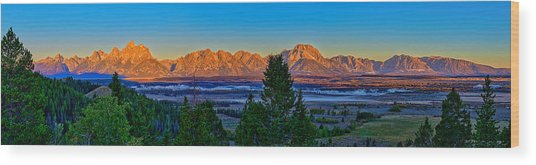 First Light On The Tetons Wood Print