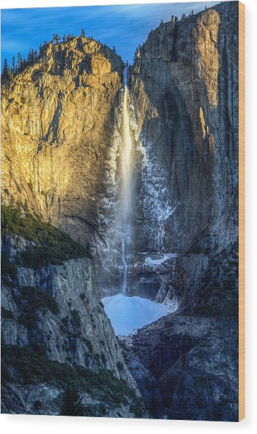 First Light On Yosemite Falls Wood Print