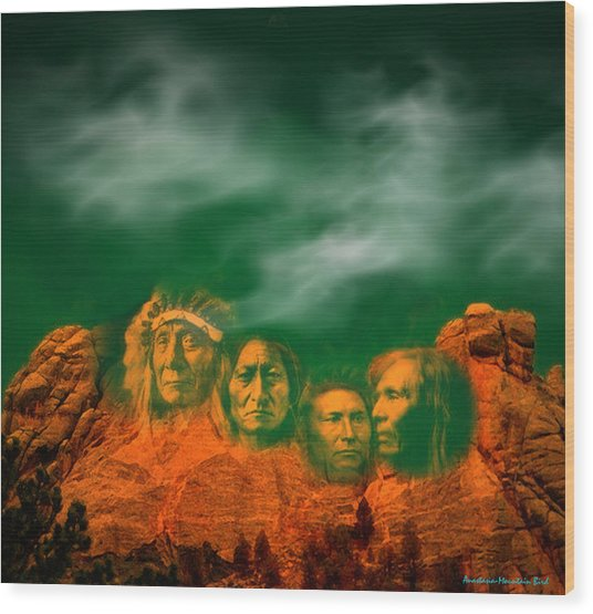 First Nations Chiefs In Mount Rushmore Wood Print