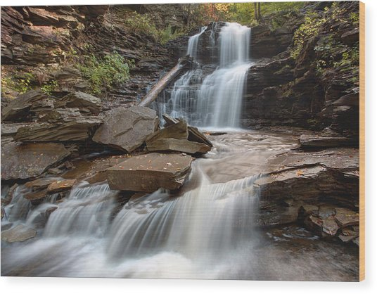 First October Morning Light On Shawnee Falls Wood Print