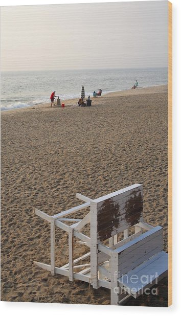 First On The Beach At Bethany Beach In Delaware Wood Print