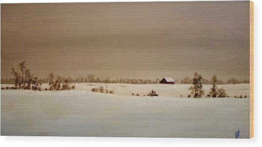First Snow Wood Print by William Renzulli