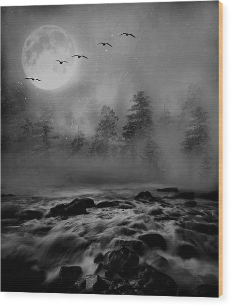 First Snowfall Geese Migrating Wood Print