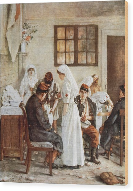 First Wordl War. Nurses With Wounded Soldiers. Poitiers Wood Print