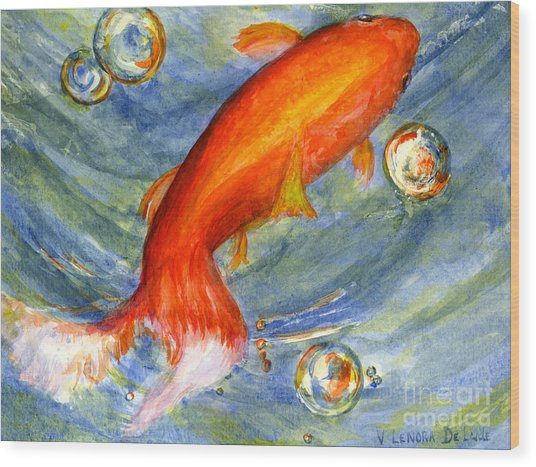 Fish And Bubbles From Watercolor Wood Print