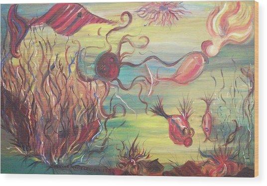 Fish And Mermaid Wood Print