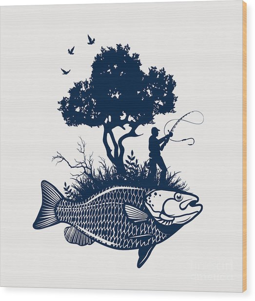 Fish Island With Fisherman And Tree Wood Print by Moloko88