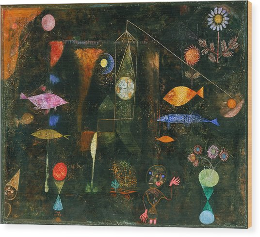 Wood Print featuring the painting Fish Magic by Paul Klee