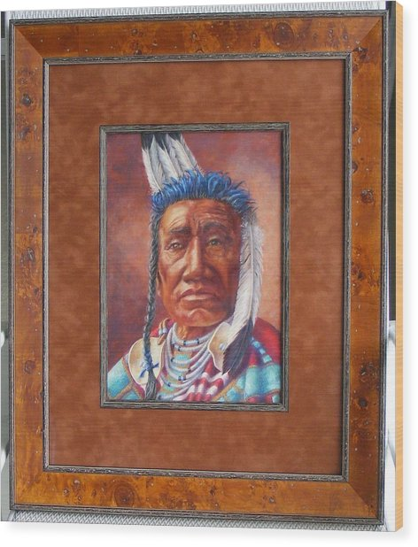 showing the frame on Fish Shows Native Am. Indian Wood Print