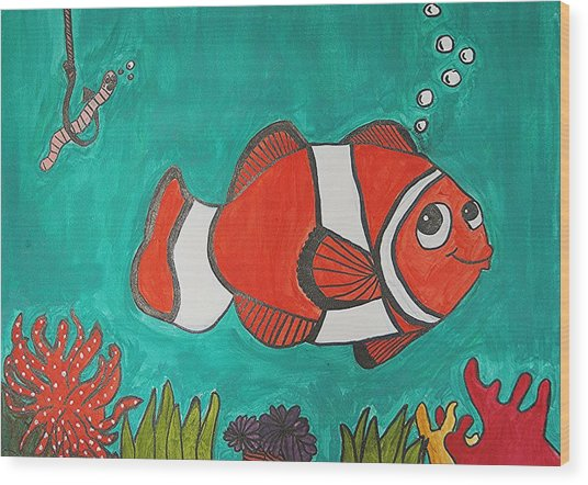 Fish Smiling At Lunch Wood Print by Fred Hanna