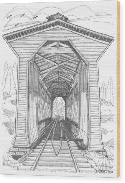 Fisher Railroad Covered Bridge Wood Print