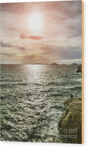 Fisherman On The Cliff At Sunset Wood Print by Pier Giorgio Mariani