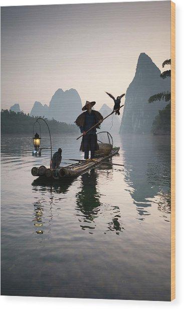 Fisherman With Cormorants On Li River Wood Print