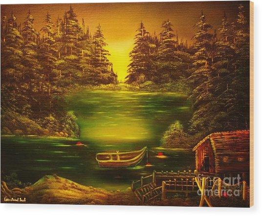Fishermans Cabin-original Sold- Buy Giclee Print Nr 32 Of Limited Edition Of 40 Prints  Wood Print by Eddie Michael Beck