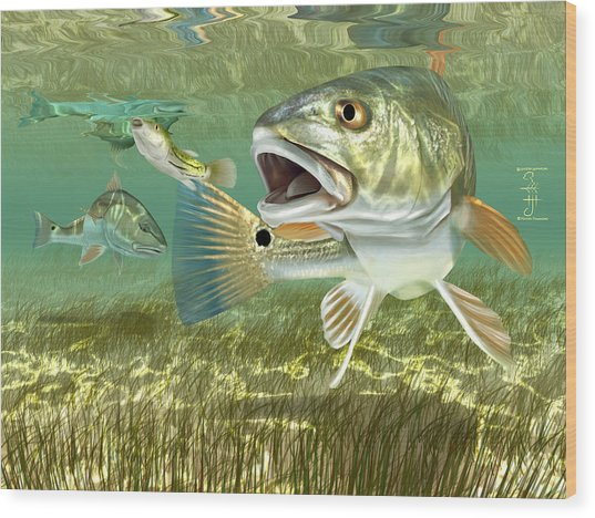 Fisherman's Post Redfish Wood Print