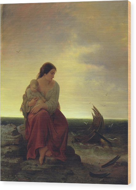 Fishermans Wife Mourning On The Beach Oil On Canvas Wood Print