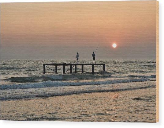 Fishermen At Sunset. Wood Print by Alexandr  Malyshev