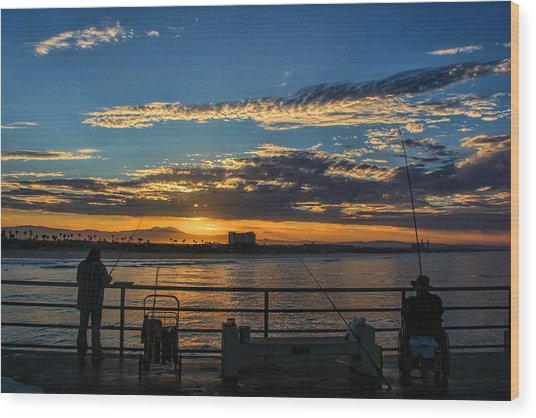Fishermen Morning Wood Print