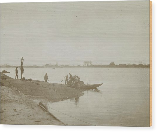 Fishermen On The Bank Of A River, Henry Pauw Van Wieldrecht Wood Print by Artokoloro