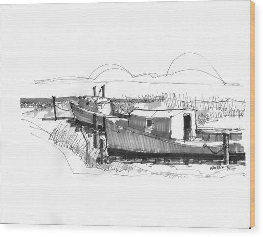 Fishers At Rest Ocracoke Nc 1970s Wood Print