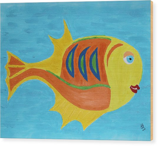 Wood Print featuring the mixed media Fishie by Deborah Boyd