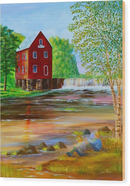 Fishin' At The Old Mill Wood Print