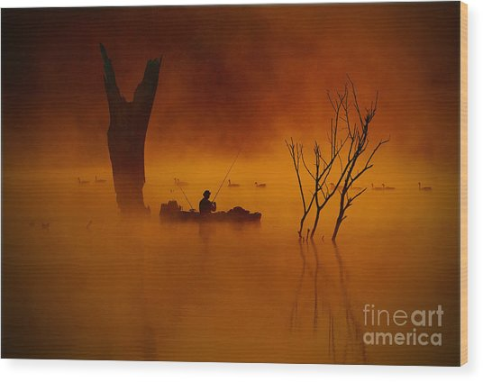Fishing Among Nature Wood Print