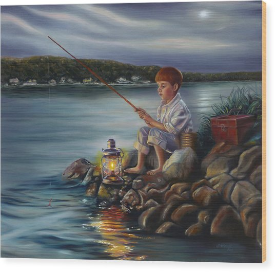 Fishing At Dusk Wood Print