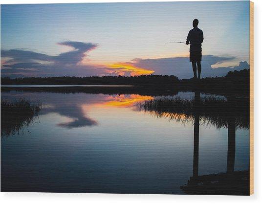 Fishing At Sunset Wood Print