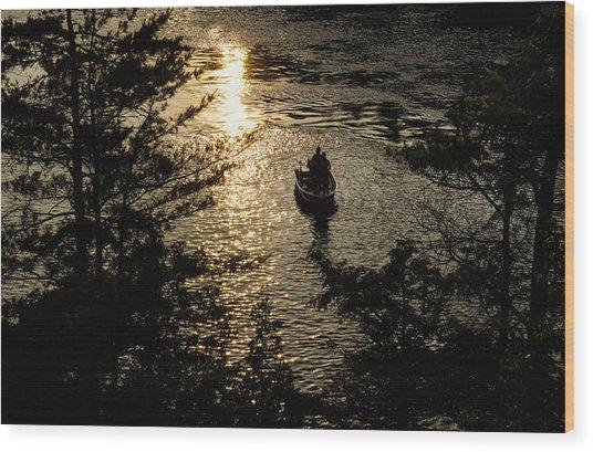 Fishing At Sunset - Thousand Islands Saint Lawrence River Wood Print