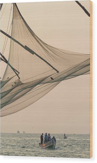 Fishing Boat And Chinese Fishing Nets Wood Print
