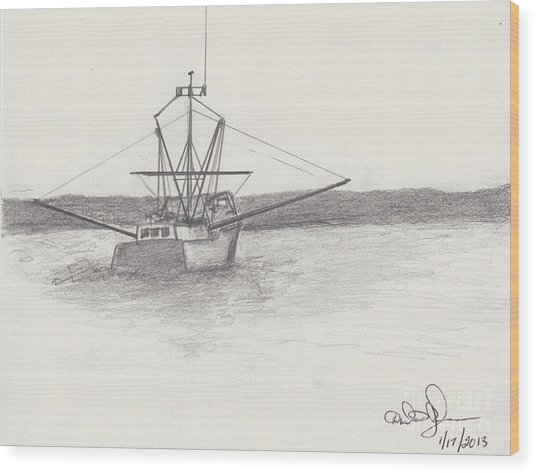 Fishing Boat Wood Print