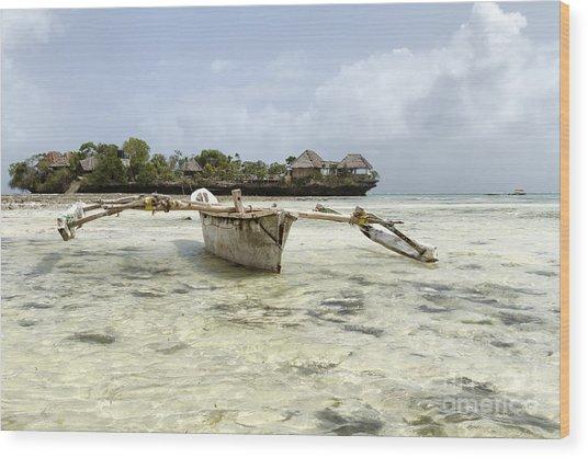 Fishing Boat In Zanzibar Wood Print by Pier Giorgio Mariani