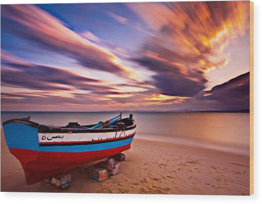 Wood Print featuring the photograph Fishing Boat On A Beach At Sunset / Hammamet by Barry O Carroll