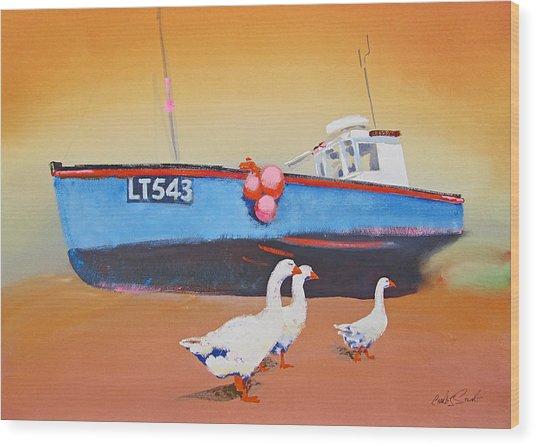 Fishing Boat Walberswick With Geese Wood Print
