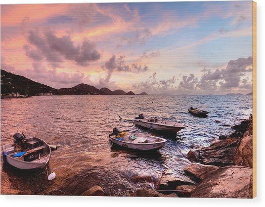 Fishing Boats At A Firey Sunset Wood Print by Anya Brewley Schultheiss