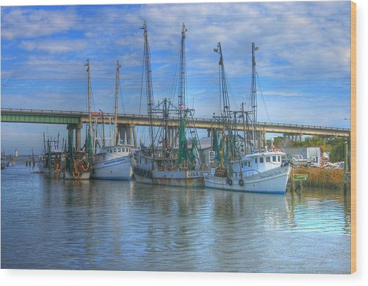 Fishing Boats At The Dock Wood Print