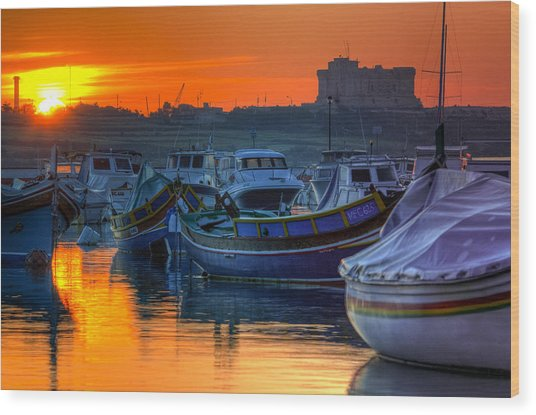 Fishing Boats In Birzebuggia Harbour Wood Print