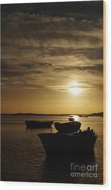 Fishing Boats In Cacela Velha Wood Print