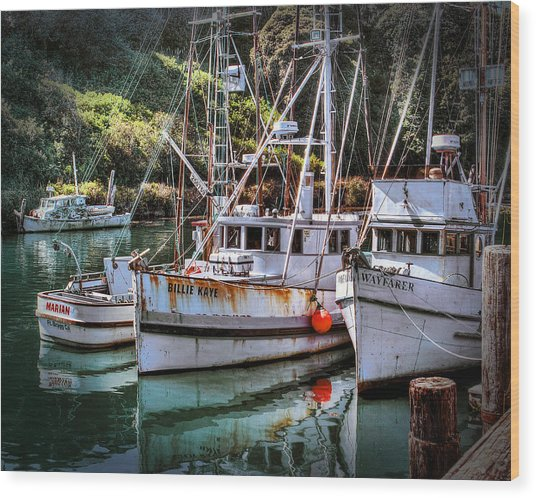 Fishing Boats In Fort Bragg Wood Print