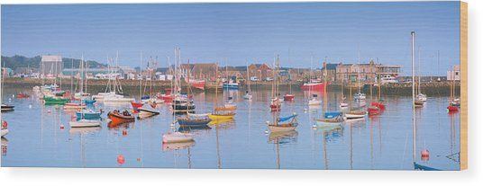 Fishing Boats In The Howth Marina Wood Print