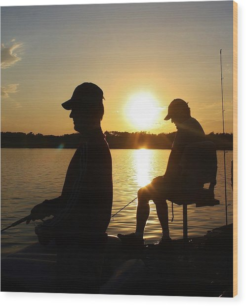 Fishing Buddies Wood Print
