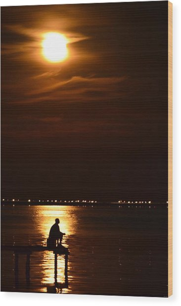 Fishing By Moonlight01 Wood Print