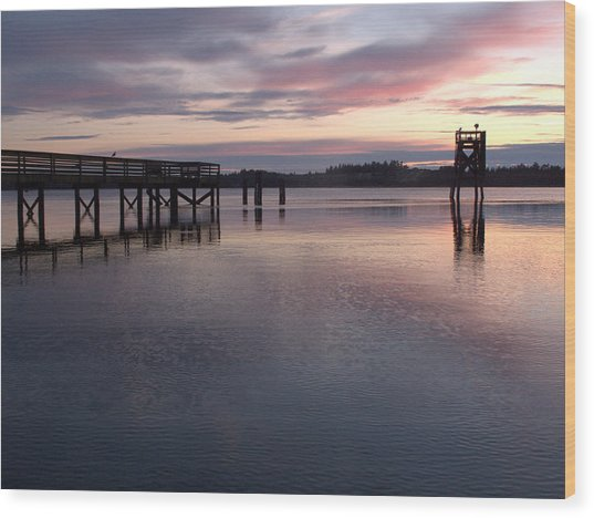 Fishing Dock Pastel Wood Print