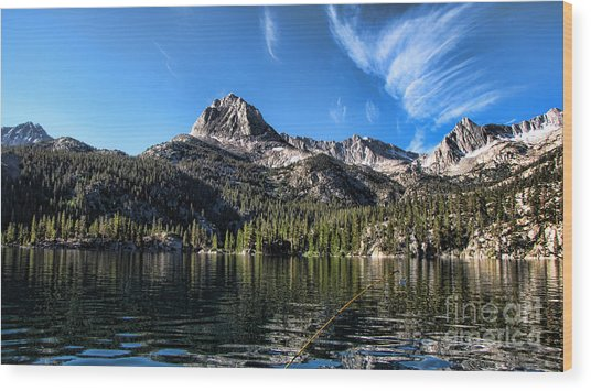 Fishing In Lake Sabrina Wood Print