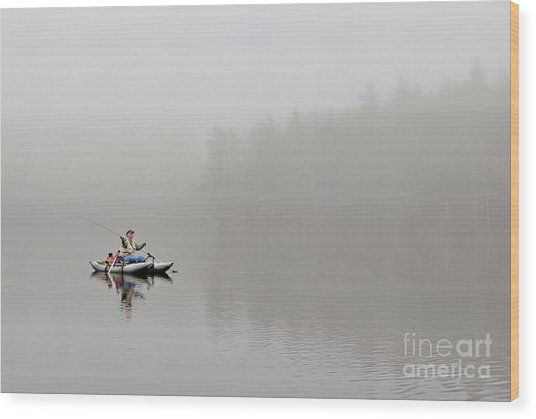 Fishing In The Fog Wood Print by Karin Pinkham