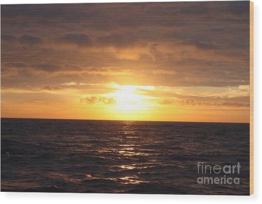 Fishing Into The Sunrise Wood Print by John Telfer